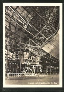 AK Führer- und Fahrgastgondel eines Zeppelins im Bau