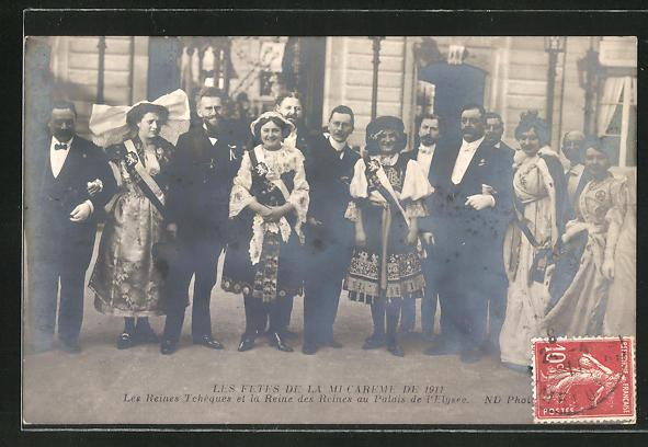AK Paris, Les Fetes de la Mi-Careme de 1911, les Reines Tcheques et la Reine des Reines au Palais de l'Elysee