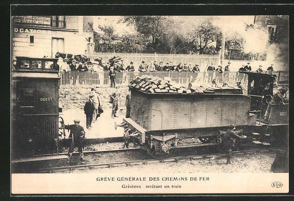 AK Gréve Génèrale des Chemin de Fer, Grevistes arretant un train