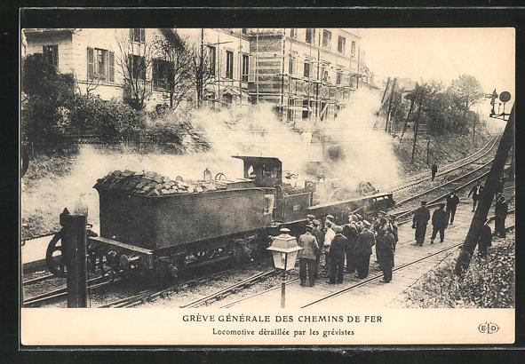 AK Gréve Génèrale des Chemin de Fer, Locomotive deraillee par les grevistes, französische Eisenbahn