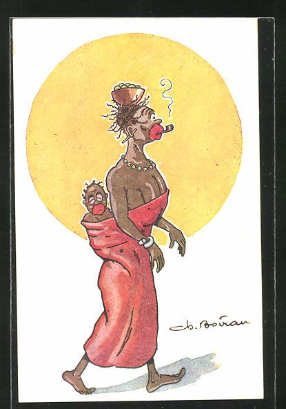 Künstler-AK sign. Boivau: Les Bienfaits de la Civilisation, afrikanische Mutter mit Baby