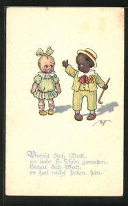AK Afrikanischer Junge und Mädchen mit Schleife