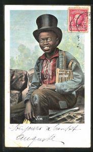 AK afrikanischer Junge Jim mit Zylingder und Bürsten