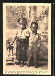 AK Afrikanischer Junge und Mädchen mit Puppe