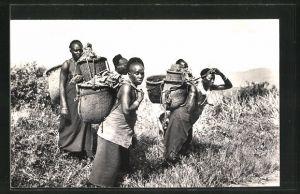 AK Ruanda-Urundi, Type de Femme Indigene, afrikanische Frauen mit Körben