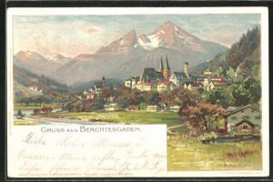 Lithographie Berchtesgaden, Ortsansicht mit Bergen