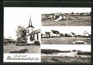 AK Blankenheimerdorf / Eifel, verschiedene Ortsansichten, Kirche und Spielplatz