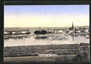 AK Neuwied / Rhein, Ortspartie vom Flussufer aus gesehen