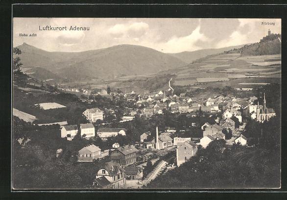 AK Adenau, Ortsansicht mit Hohe Acht und Nürburg 0