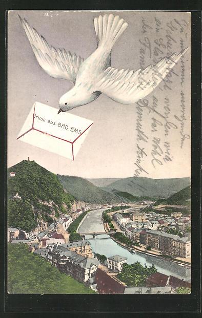 AK Bad Ems, Ortspartie am Fluss, weisse Taube mit Brief im Schnabel