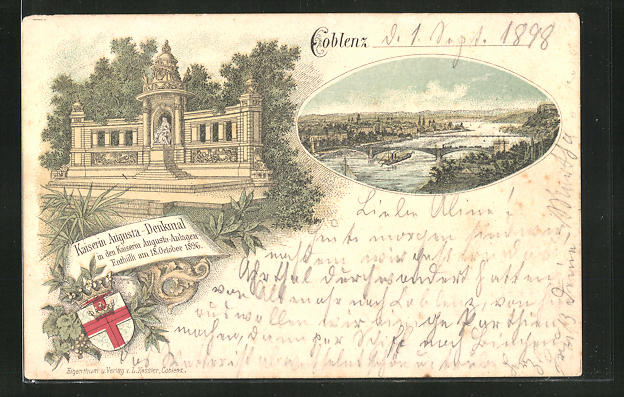 Lithographie Coblenz, Teilansicht mit Brücke, Kaiserin Augusta-Denkmal in den Kaiserin Augusta-Anlagen