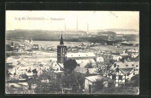 AK Mechernich, Ortspartie mit Kirche aus der Vogelschau