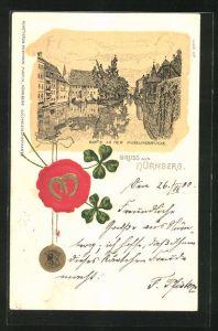 Präge-Lithographie Nürnberg, Partie an der Museumsbrücke, Wappen