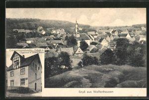 AK Wolfenhausen, Colonialwarenhandlung von Adolf Raab, Ortsansicht