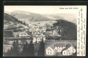 AK Urft / Eifel, Gasthaus und Handlung von H. J. Weckmann, Ortsansicht