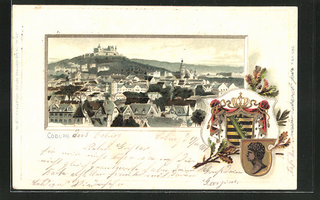 Passepartout-Lithographie Coburg, Ortsansicht aus der Vogelschau, Wappen