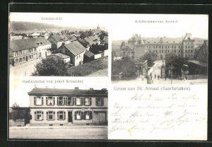 AK Saarbrücken, Ortsansicht, Artilleriekaserne Arnual, Gasthaus und Restauration von Jakob Schneider