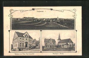 AK Halsenbach, Totalansicht, Gasthaus zur Post, Pfarrhaus u. Kirche