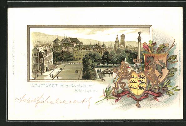 Passepartout-Präge-Lithographie Stuttgart, Altes Schloss mit Schlossplatz und Wappen