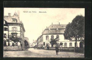 AK Prüm, Hahnstrasse mit Passanten und Hotel