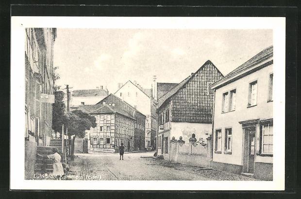 AK Kommern / Eifel, Ortspartie mit Passanten