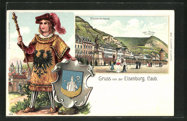 Passepartout-Präge-Lithographie Caub-Elsenburg, Hotel-Pension Elsenburg und Blücherdenkmal, Bürger mit Wappen