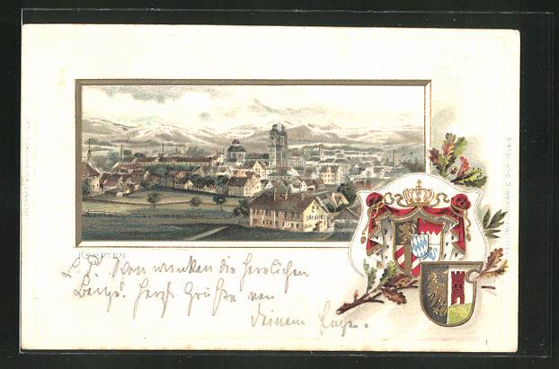 Winter-Präge-Lithographie Kempten, Totalansicht mit Wappen