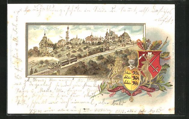 Passepartout-Präge-Lithographie Degerloch, Ortsansicht mit Wappen