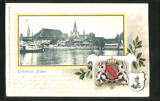 Passepartout-Präge-Lithographie Konstanz, Partie am Hafen mit Booten und Wappen