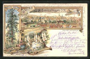 Lithographie Schwenningen a. N., Ortsansicht, Hölzle König, grösste Tanne Deutschlands, Neckar-Ursprung