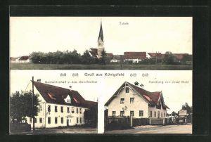AK Königsfeld, Totalansicht, Gastwirtschaft v. Jos. Sandbichler, Handlung von Josef Bickl