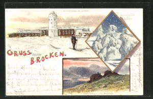 Winter-Lithographie Brocken, Skifahrer am Brockenhaus im Winter, Tannengruppe im Winter, Gewitter
