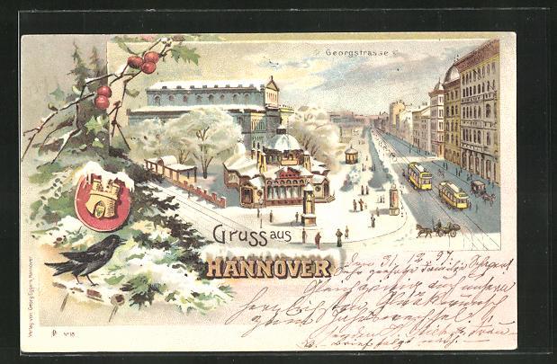 Winter-Lithographie Hannover, Georgstrasse mit Strassenbahn und Wappen