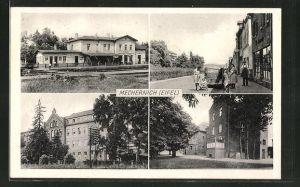 AK Mechernich / Eifel, Bahnhof, Strassenpartien mit Gebäudeansicht