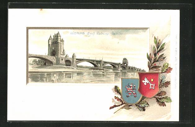 Passepartout-Präge-Lithographie Worms, Ernst Ludwigs-Brücke mit Wappen
