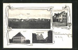 AK Stadtbergen, Totalansicht, Pfarrhof, Schlossgut v. Tessing, Handlung v. A. Bogenhausen