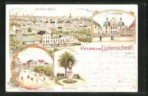Lithographie Lüdenscheid, Ansicht vom Bahnhof, Schloss Neuenhof, Kaiser-Denkmal