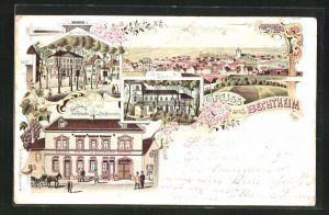 Lithographie Bechtheim, Totalansicht, Kirche, Marktplatz, Gasthaus zur Traube von Chr. Brenner