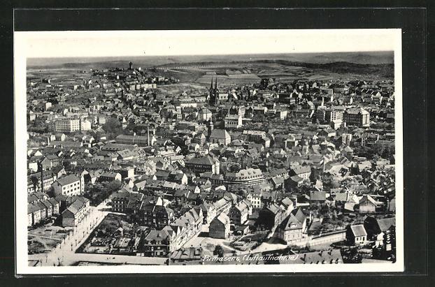 AK Pirmasens, Fliegeraufnahme der Stadt, Teilansicht