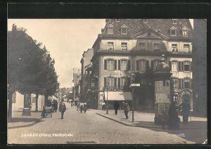 AK Landau / Pfalz, Marktstrasse mit Geschäft von Etchenlaub & Mayer