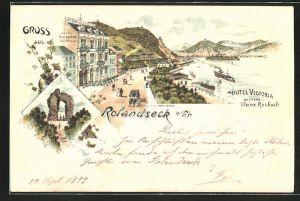 Lithographie Rolandseck a. Rh., Rolandsbogen, Ortsansicht mit Hotel Victoria