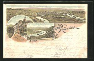 Lithographie Koblenz, Gasthaus Rittersturz, Ortspanorama und Rheinpartie