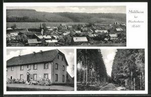 AK Mülheim / Eifel, Gasthaus Mühlheimerhaus, Waldpartie und Panoramablick vom Berg aus gesehen