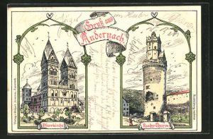 Lithographie Andernach, Pfarrkiche und Runder Thurm