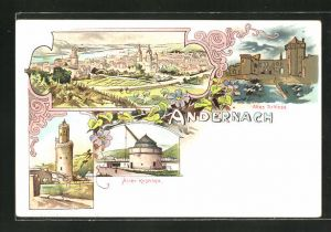 Lithographie Andernach, Altes Schloss, Alter Krahnen, Runder Thurm