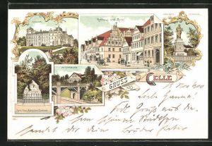 Lithographie Celle, Restaurant Petersburg, Schloss, Karolinen-Mathilden-Denkmal