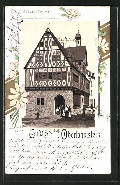 Lithographie Oberlahnstein, Altes Rathaus, von Blumen gerahmt