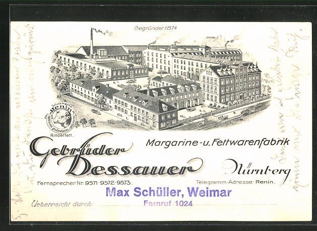 AK Nürnberg, Margarine- und Fettwarenfabrik Gebrüder Dessauer