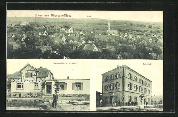 AK Oberschefflenz, Totalansicht, Restauration z. Bahnhof, Bahnhof