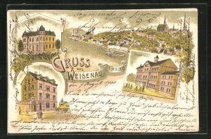 Lithographie Weisenau, Ortsansicht, Gemeinde Schule, Kath Pfarrhaus, Postgebäude